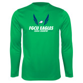 Performance Kelly Green Longsleeve Shirt-Cross Country Wings
