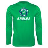 Performance Kelly Green Longsleeve Shirt-Soccer Ball Design