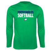 Performance Kelly Green Longsleeve Shirt-Softball Stacked