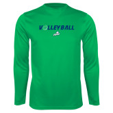 Performance Kelly Green Longsleeve Shirt-Volleyball w/ Ball