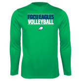 Performance Kelly Green Longsleeve Shirt-Volleyball Stacked