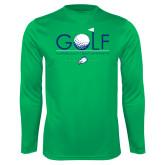 Performance Kelly Green Longsleeve Shirt-Golf Flag and Ball