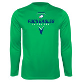 Performance Kelly Green Longsleeve Shirt-Lacrosse Abstract Stick