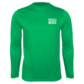 Performance Kelly Green Longsleeve Shirt-FGCU at 20 Stacked
