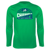 Syntrel Performance Kelly Green Longsleeve Shirt-Regular Season Champions 2017 Mens Basketball Half Ball Design