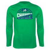 Syntrel Performance Kelly Green Longsleeve Shirt-Regular Season Champions 2017 Mens Basketball Half Ball Design