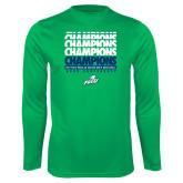 Syntrel Performance Kelly Green Longsleeve Shirt-Regular Season Champions 2017 Mens Basketball Champions Repeating