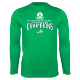 Performance Kelly Green Longsleeve Shirt-2018 Womens Basketball Champions