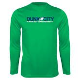 Performance Kelly Green Longsleeve Shirt-Dunk City Official Logo