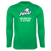 Performance Kelly Green Longsleeve Shirt-Swimming and Diving