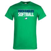 Kelly Green T Shirt-Softball Stacked