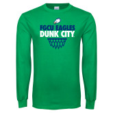 Kelly Green Long Sleeve T Shirt-Dunk City Stacked w/ Net