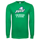 Kelly Green Long Sleeve T Shirt-Swimming and Diving