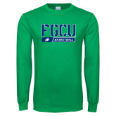 Kelly Green Long Sleeve T Shirt-Basketball Stencil
