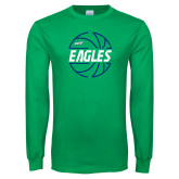 Kelly Green Long Sleeve T Shirt-Basketball in Ball