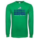 Kelly Green Long Sleeve T Shirt-Basketball Triple Stacked