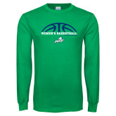 Kelly Green Long Sleeve T Shirt-Basketball Half Ball