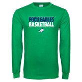 Kelly Green Long Sleeve T Shirt-Basketball Stacked