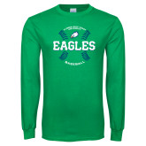 Kelly Green Long Sleeve T Shirt-Baseball Seams