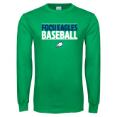 Kelly Green Long Sleeve T Shirt-Baseball Stacked