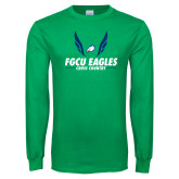 Kelly Green Long Sleeve T Shirt-Cross Country Wings