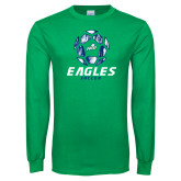 Kelly Green Long Sleeve T Shirt-Soccer Ball Design