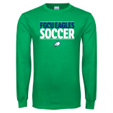 Kelly Green Long Sleeve T Shirt-Stacked Soccer