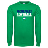 Kelly Green Long Sleeve T Shirt-Softball Stacked