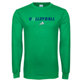 Kelly Green Long Sleeve T Shirt-Volleyball w/ Ball