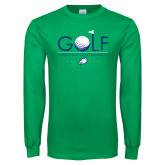 Kelly Green Long Sleeve T Shirt-Golf Flag and Ball