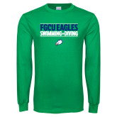 Kelly Green Long Sleeve T Shirt-Swimming and Diving Stacked