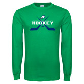 Kelly Green Long Sleeve T Shirt-Hockey Crossed Sticks w/ Puck