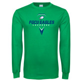 Kelly Green Long Sleeve T Shirt-Lacrosse Abstract Stick