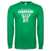 Kelly Green Long Sleeve T Shirt-Regular Season Champions 2017 Mens Basketball Net Design