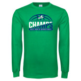Kelly Green Long Sleeve T Shirt-Regular Season Champions 2017 Mens Basketball Half Ball Design