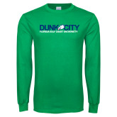 Kelly Green Long Sleeve T Shirt-Dunk City Official Logo