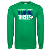 Kelly Green Long Sleeve T Shirt-Raining Threes