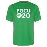 Performance Kelly Green Tee-FGCU at 20 Stacked