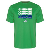 Syntrel Performance Kelly Green Tee-Regular Season Champions 2017 Mens Basketball Champions Repeating