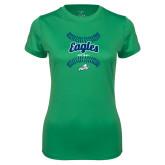 Ladies Syntrel Performance Kelly Green Tee-Softball Seams
