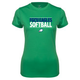 Ladies Syntrel Performance Kelly Green Tee-Softball Stacked