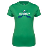 Ladies Syntrel Performance Kelly Green Tee-Hockey Crossed Sticks w/ Puck