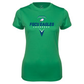 Ladies Syntrel Performance Kelly Green Tee-Lacrosse Abstract Stick