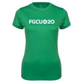 Ladies Syntrel Performance Kelly Green Tee-FGCU at 20 Flat