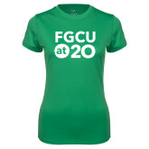 Ladies Syntrel Performance Kelly Green Tee-FGCU at 20 Stacked