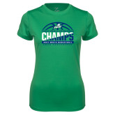 Ladies Syntrel Performance Kelly Green Tee-Regular Season Champions 2017 Mens Basketball Half Ball Design