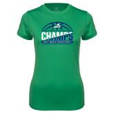 Ladies Syntrel Performance Kelly Green Tee-Regular Season Champions 2017 Mens Basketball Half Ball Design