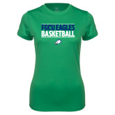Ladies Syntrel Performance Kelly Green Tee-Basketball Stacked