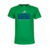 Youth Kelly Green T Shirt-Basketball Triple Stacked