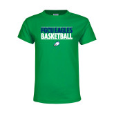 Youth Kelly Green T Shirt-Basketball Stacked